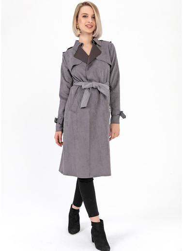 Tiffany&Tomato Trenchcoat Apoletli Gri